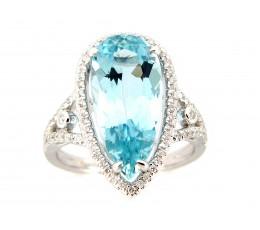 Aquamarine & Diamond Ring