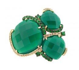 Green Agate, Tsavorite & Brown Diamond Ring