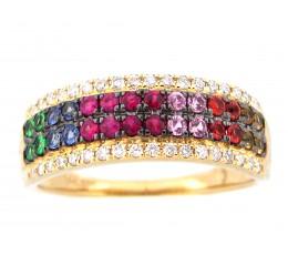 Rainbow Sapphire, Tsavorite & Diamond Ring