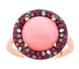 Pink Opal, Brown & White Diamond Ring