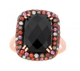 Black Onyx, Brown & White Diamond Ring