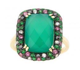 Green Agate, Black & White Diamond Ring