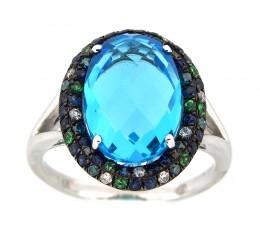 Blue Topaz & Color Diamond Ring