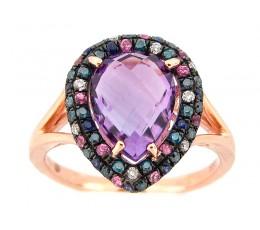 Amethyst & Color Diamond Ring
