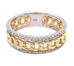 Two Tone Diamond Rails Link Ring