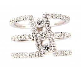 Diamond 3 Row Cylinder Ring