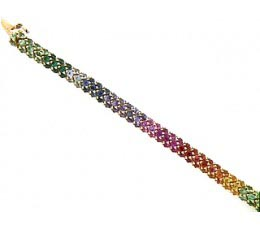 Micro-Pave Fancy Color Sapphire & Tsavorite Bracelet