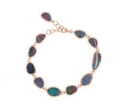 Black Opal Doublet & Diamond Bracelet