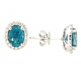 Blue Zircon & Diamond Earring