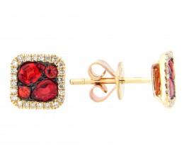 Orange Sapphire & Diamond Earring