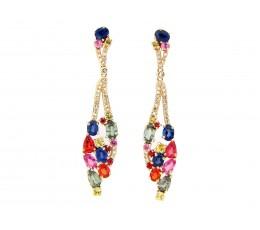 Rainbow Sapphire & Diamond Drop Earring