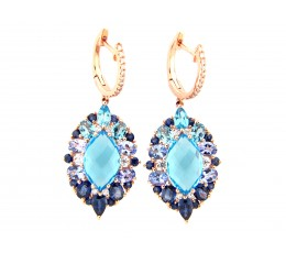 Blue Topaz, Tanzanite, Sapphire & Diamond Marquis Earring
