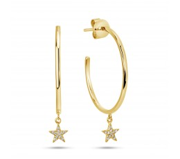 Diamond Star Hoop Earring