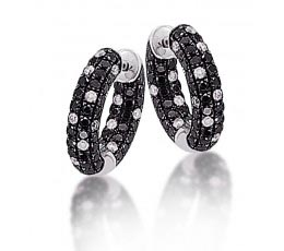 Micro Pave Black & White Diamond Scattered Hoop Earring