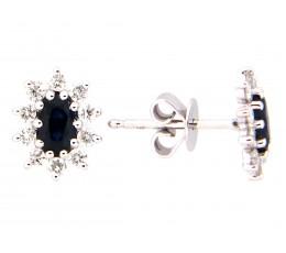 Sapphire & Diamond Stud Earring