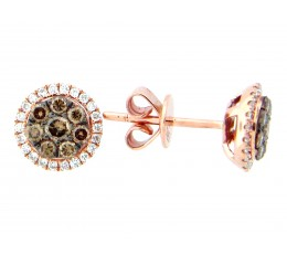 Brown & White Diamond Cluster Stud Earring