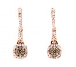 Brown White Diamond Cluster Drop Earrings