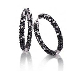 Black & White Diamond Hoop Earring
