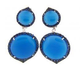 Blue Agate, Sapphire & Diamond Earring