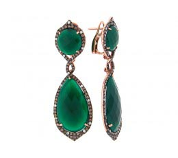 Green Agate, Brown & White Diamond Earring