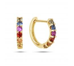 Rainbow Sapphire Huggie Earring