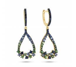 Sapphire and Tsavorite Dangle Earring
