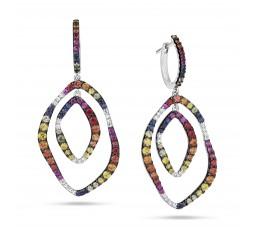 Rainbow Sapphire & Diamond Earring