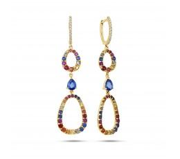 Rainbow Sapphire Free Form Earring