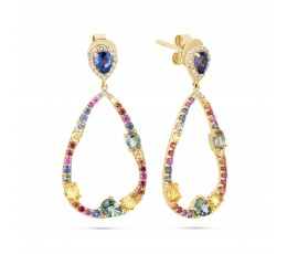 Rainbow Sapphire Pear Dangle Earring