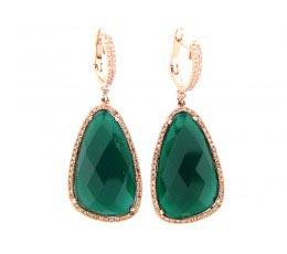 Green Agate, Brown & White Diamond Earring