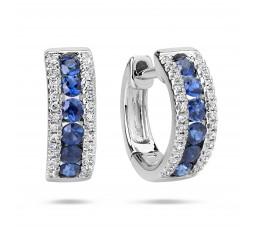 Sapphire & Diamond Hoop Earring