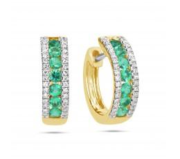 Emerald & Diamond Huggie Earring