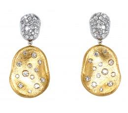 Organic Oval Shaped Diamond Dangle Satin Finish Earring