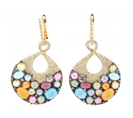 Mixed Gem & Diamond Earrings