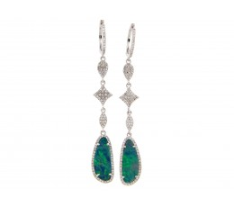 Black Opal & Diamond Drop Earring