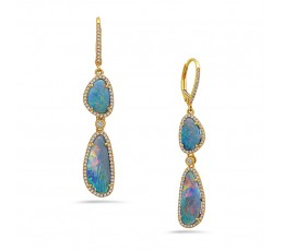 Opal & Diamond Dangle Earring