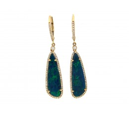 Black Opal & Diamond Drop Earrings