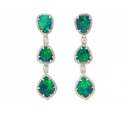 Black Opal & Diamond 3 Station Dangle Earring