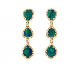 Black Opal & Diamond 3 Station Dangle Earring