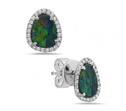 Black Opal & Diamond Earring