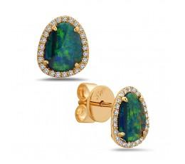 Black Opal & Diamond Earring