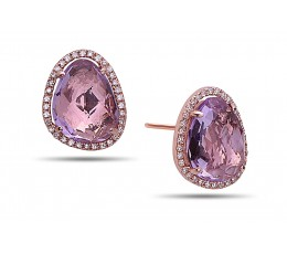 Amethyst & Diamond Stud Earring