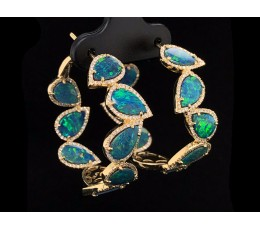 Black Opal Doublet & Diamond Hoop Earring