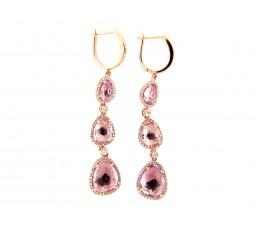 Pink Amethyst & Diamond Dangle Earring