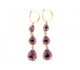 Amethyst & Diamond Dangle Earring