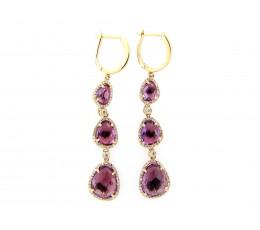 Amethyst & Diamond Dangle Earring