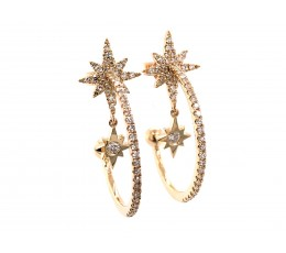 Diamond Star J-Hoop Earring