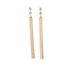 Diamond Triangle Tassel Earrings