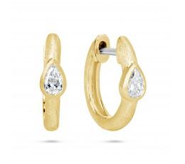 Diamond Pear Huggie Earring