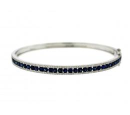 Sapphire & Diamond Channel Bangle